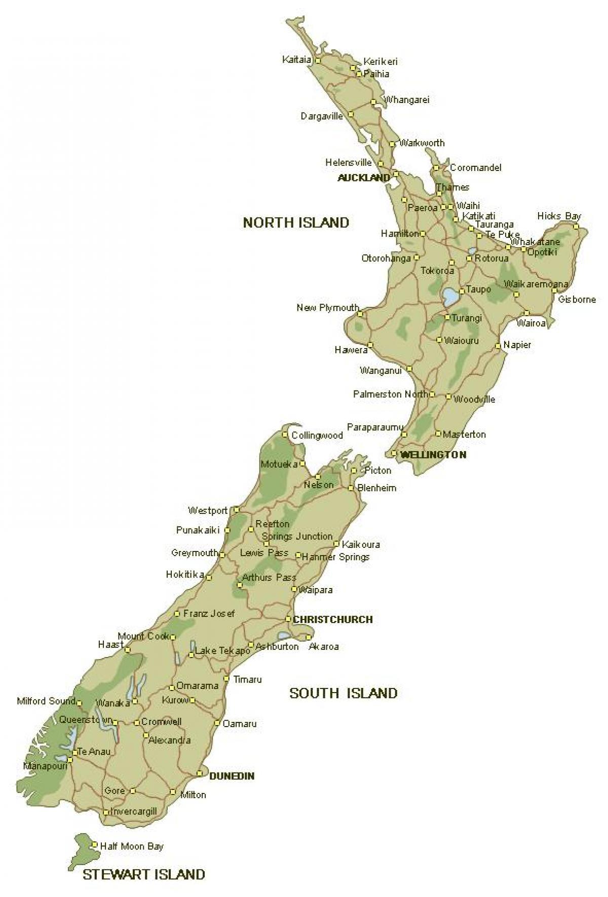 Gedetailleerde Kaart Van Nieuw Zeeland Gedetailleerde Kaart Van