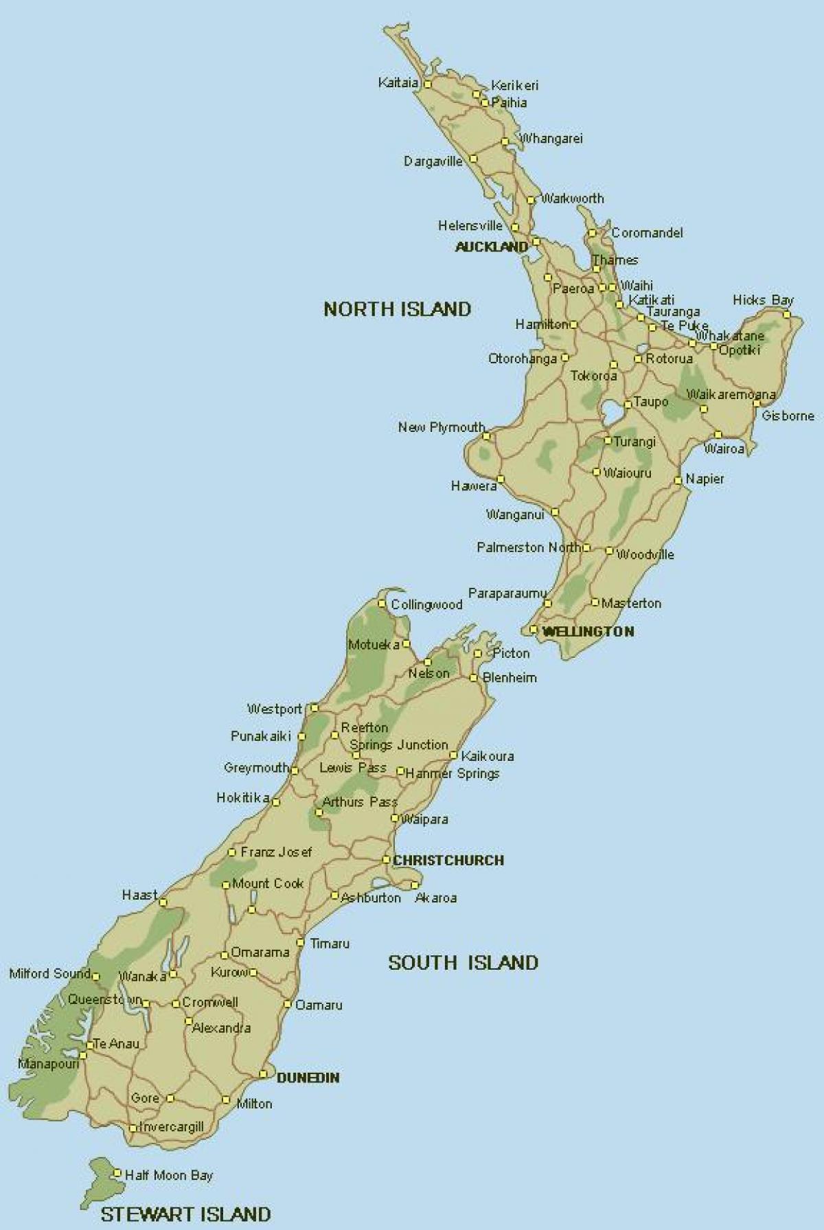Kaart Van Nieuw Zeeland In Nieuw Zeeland Volledige Kaart